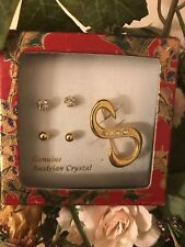 """jewelry Set Two Pair Of Stud Earring W/ """"S""""Letter Pin Gold Austrian Crystal"""