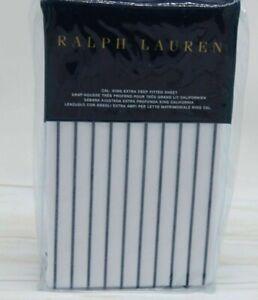 Ralph Lauren CAL . KING EXTRA DEEP FITTED SHEET PRESCOT STRIPE WHITE NAVY