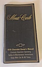 Vintage 1979 Monte Carlo Owner's Manual Chevrolet Operating Safety Maintenance