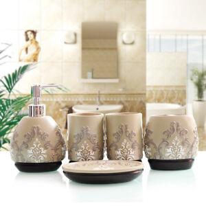 NEW Luxury Noble 5pcs Bathroom accessories set Soap Dish Dispenser Resin Fashion