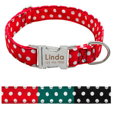 Polka Dot Nylon Dog Collar Personalized Custom Engraved Puppy Small Dog Name Tag