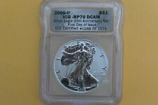 2006 P REVERSE PROOF SILVER EAGLE ICG PR70 20TH ANNIVERSARY FIRST DAY ISSUE