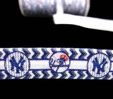 5 Yds New York Yankees Baseball FOE Fold Over Elastic Hair Ties Ribbon