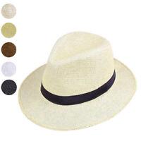 Men Straw Panama Hat Handmade Cowboy Cap Summer Beach Travel Sunhat
