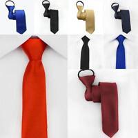 Men's Zipper Lazy Slim Necktie Solid  Party Narrow Skinny Neck Tie AUS