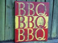 Hand-Painted Wooden BBQ Sign - BBQ BBQ BBQ