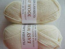 Filatura Lanarota Easy Wool yarn, cream, lot of 2 (145 yds each)