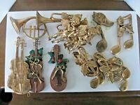 Vintage Christmas Tree Ornaments Musical Theme Hard Plastic Gold Tone Lot of 16