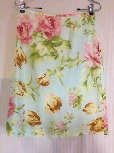 Floral Silk Skirt 8 petite Kasper Floral Mint Background