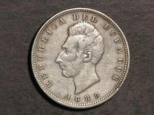 ECUADOR 1889H 1 Sucre Silver Crown VF