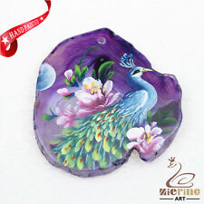 Hand Painted Peacock Agate Slice Gemstone Necklace Pendant Jewlery D1706 0185