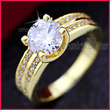 18K GOLD GF WOMEN GIRLS LUXURY 2CT SOLITAIRE WEDDING DRESS CRYSTAL 5MM BAND RING