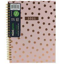 Mintgreen 2021 Monthly Weekly Planner Agenda Spiral Hardcover Tabs Pink