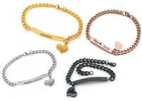 ID Edelstahl Armbander mit Herzanhänger mit Gravur nach Wunsch Valentinstag NEU♥
