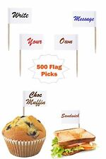 500 White Flag Picks 8cm Write Sandwich Food Cup Cake Own Message Party Cocktail
