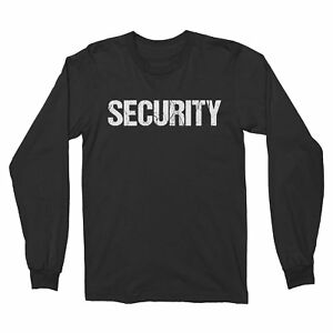 NYC FACTORY Long Sleeve Security T-Shirt Black & White Mens Tee Staff Event