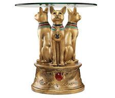 "Egyptian Cat Goddess Bastet Sculpture Statue Glass Side Table Replica 20"""