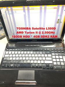 "TOSHIBA Satellite L500D_AMD Turion II@2.50GHz_160GB HDD_4GB DDR2 RAM_15.6""Screen"