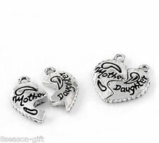 "HX 10 Sets ""Mother"" ""Daughter"" Love Heart Charm Pendants 19x20mm"