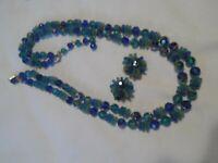 Vtg Blue & Green Double Strand Necklace & Clip On Cluster Earrings Set Hong Kong