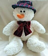 """Russ Berrie Freezy the Snowman Stuffed Plush Red Hat Scarf 14"""" Tall #101477"""