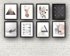 Set of 8 TRIBAL NORDIC GALLERY copper feathers marble wall decor art prints