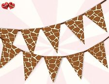 Safari Giraffe Pattern Circus  Bunting Banner 15 flags stylish party decoration