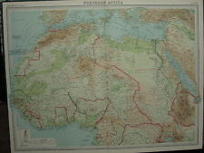 1920 LARGE MAP ~ NORTHERN AFRICA IVORY COAST GOLD COAST COLONY ALGERIA TUNIS