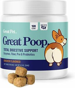 Great Poop Probiotic Digestive Enzymes Support for Dogs Fiber Anal Gland Support