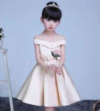 Kids Off Shoulder Dress Beige