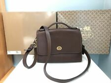 VINTAGE COACH COURT 9870 MAHOGANY TOP HANDLE BAG BRASS Box Included