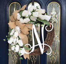 "Beautiful monogram ""N"" All Seasons white Tulip For Front Door Wreath 20 inch"