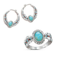 Fashion Turquoise Gemstone 925 Silver Ring Earring Set Engagement Women Jewelry