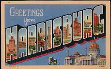 HARRISBURG PA Large Letter Vtg Linen Greeting Postcard