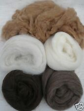 "5 colors Natural Browns wool roving 50"" each 1 oz grams"
