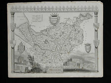 Original Vtg Antique CHESHIRE Map circa 1840s by Moule 19th C. Engraving