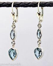 Ohrringe / Ohrhänger aus Silber 925 mit echtem blauen Topas / Sterlingsilber