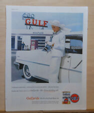 1957 magazine ad for Gulf - woman in white, Gulf Station, Keep your engine clean