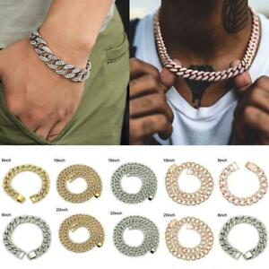Men Cuban Chain Silver Gold Necklace Thick Hip Hop Iced Diamond Jewelry Plat