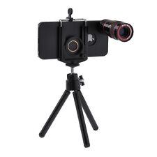 8X Telescope Camera Lens + Mini Tripod + Hard Case + Bag For iPhone 5 5S Black