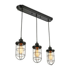 Industrial 3-Light Kitchen Island Pendant Lights Cage Glass Linear Ceiling Lamp
