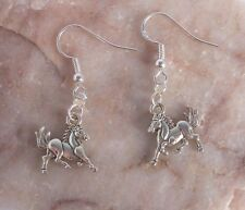 Lovely Tibetan Silver Horse, 925 Sterling Silver Hook Dangle Earrings.Handmade