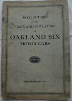 1927 Oakland Six Thirteenth Edition Instruction Book Owners Manual