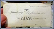 Studebaker 1962 Lark special showing small invitation card