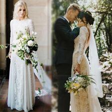 Mermaid Boho Long Sleeve Lace Wedding Dress Backless Bridal Gown Custom Size