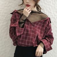 Fashion Women Korean Long Sleeve V Neck Plaid Casual Loose Tops Blouse T Shirt