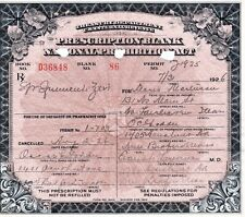 Antique 1926 Prohibition Prescription Whiskey Pharmacy Doctor Bar Maria History