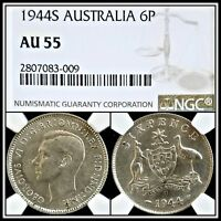 1944 Australia Sixpence NGC AU 55 About Unc Classic Silver Coin