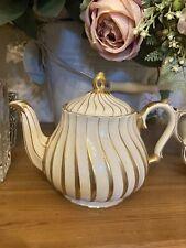 More details for vintage cream & gold swirl design sadler teapot