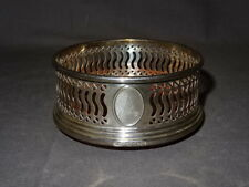 Vintage Sterling Silver Coaster With Hardwood Base - Pierced Raised Gallery
